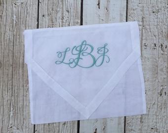 Monogrammed Linen Lingerie Bag