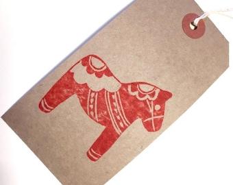 Christmas Gift Tags Xmas Gift Tags 5 Red Scandi Dala Horse Christmas Parcel Tags Handprinted