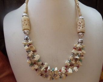 Statement necklace hippie ethnic Horn with beige/multi colored precious stone chips
