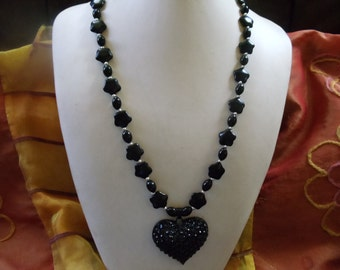 Onyx with silver and rhinestone heart of statement jewelry Neclaces