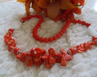 Statement necklace coral orange colored