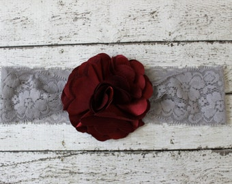 Maroon burgundy baby headband, Texas Aggie baby bow, maroon and gray lace headband