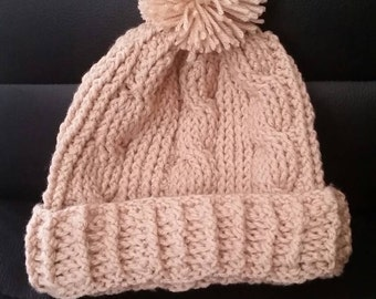 Cable Stitch Crochet Beanie