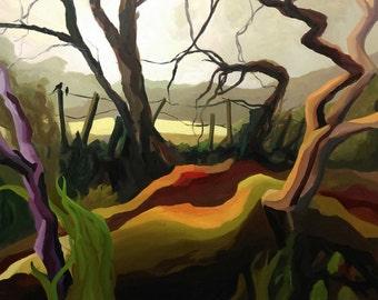 Large Signed Original Landscape Oil Painting - 'Landscape Colour Study 01.' - Artist: Leanne Betts