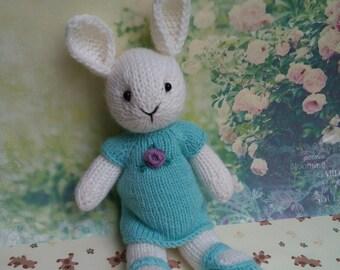 Knitted bunny in a knitted dress Вязаный зайчик в платье