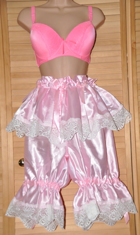 Silky frilly bloomers, sexy baby pink satin, lovely crossdressing lingerie - Sissy Lingerie
