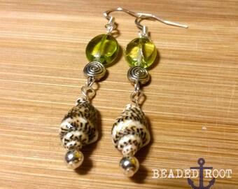 Ocean's Floor - Shell & Czech Glass Dangly Earrings