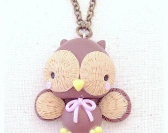 Owl Owl Necklace ~ Cute Owl Necklace Fimo Polymer Clay Kawaii