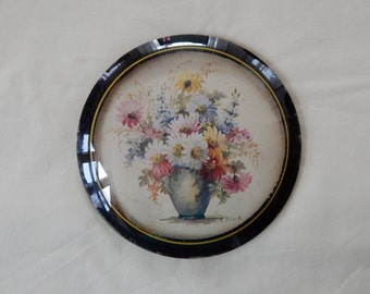 "Vintage 9"" Peter Watson Studio Convex Bubble Glass Floral Bouquet in Vase Wall Painting"