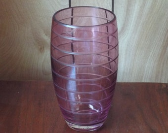 Vintage Glass Vase; Purple Glass Vase