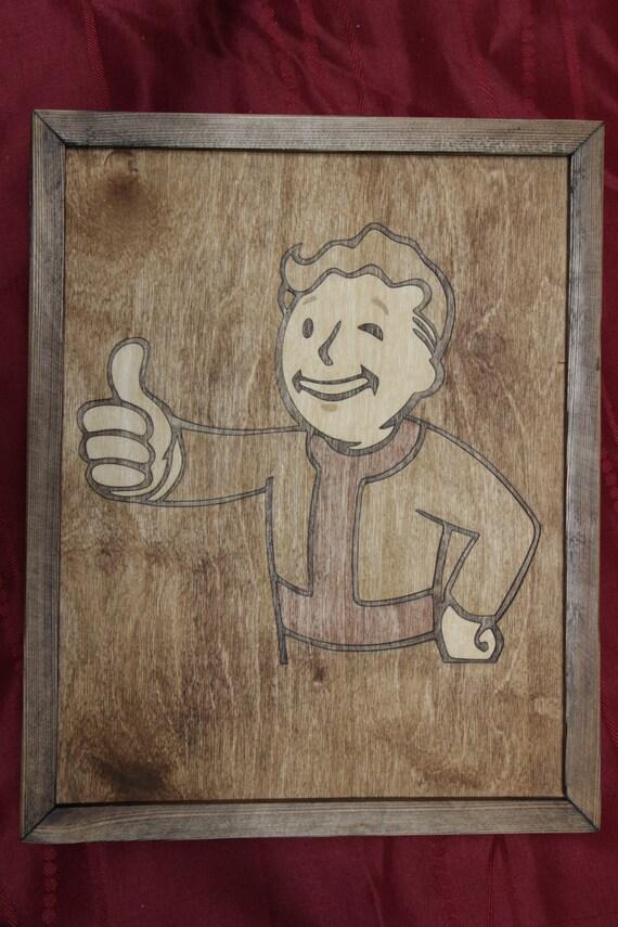 Wood Inlay Wall Decor : Fallout vault boy wooden inlay wall art