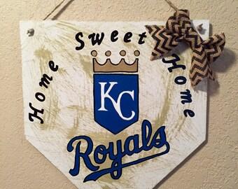 Kansas City Royals sign , home plate sign, KC Royals sign,  Kansas City Royals decorations, Royals front door sign, home sweet home