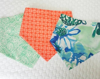 Baby Bandana bibs, Choice of all 3 or mint, floral, or orange.