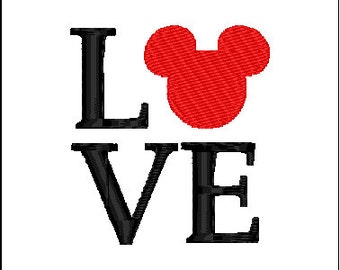 Mickey Mouse Love  Embroidery Design