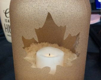 Gold Maple Leaf Mason Jar Candle Holder