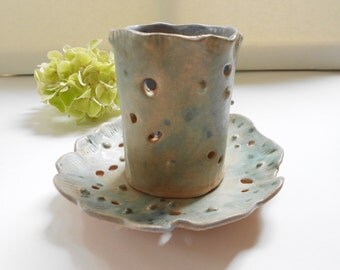 Toothbrush holder cup soap dish pottery set pale gray green sea life pottery forms beach house cottage bathroom decor