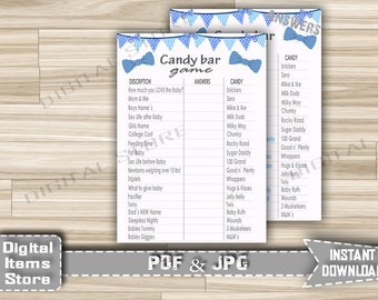 Bow Tie Blue Candy Guessing Game - Candy Guessing Game Bow Tie - Baby Shower Candy Game Little Man Blue Bow Tie - Instant Download - bt1