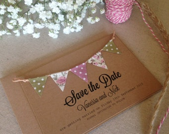Bunting Save the Date - Wedding Save the Date - Rustic Wedding - Wedding Announcement