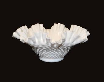 """Vintage Fenton Milk Glass Hobnail Double Crimped 10"""" Bowl"""