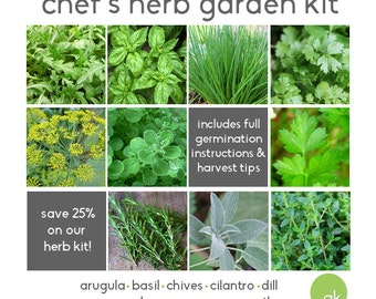 Save 25% - Chef's HERB GARDEN KIT - 10 Seed Types - Arugula, Basil, Chives, Cilantro, Dill, Oregano, Parsley, Rosemary, Sage, Thyme