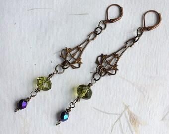Hand made earrings, vintage bead earrings, art deco earrings, vintage jewellery, re-purposed earrings , green glass, purple, brass,