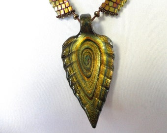 Murano Glass Leaf Necklace
