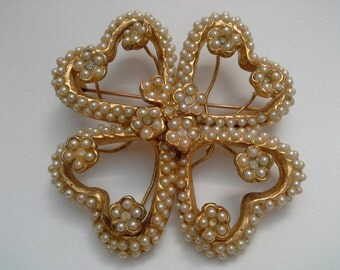 Vendome Brooch,  Pearl Brooch, Vintage Brooch, Clover Brooch, Vendome Coro, 4 Leaf Clover, Vendome Pearl Pin, Large Brooch,Seed Pearl Brooch