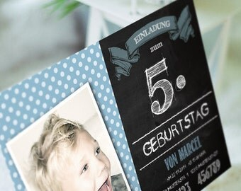 8 x blue birthday invitation