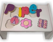 Garden Puzzle Stool (Up to 8 letters) White