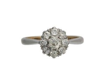 Antique Platinum and 18K White Gold Diamond Cluster Ring