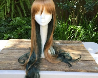 Beautiful Brown and Teal Ombre XL Lolita Synthetic Wig Great for Costumes, Cosplay, Festivals and More