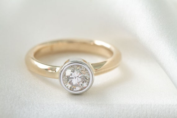 14K Simple Yellow and White Gold Bezel Set .50 Carat Diamond