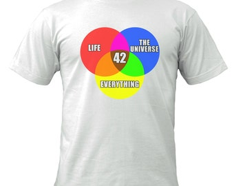 Life, The Universe and Everything Venn Diagram t-shirt
