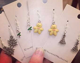 Christmas Drop Earrings - Snowflake / Candy Cane / Gingerbread Man / Christmas Tree