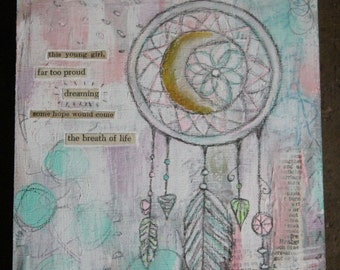 Moon Catcher- An Original Mixed Media Painting on a 5x5in wooden canvas panel by Amber Button