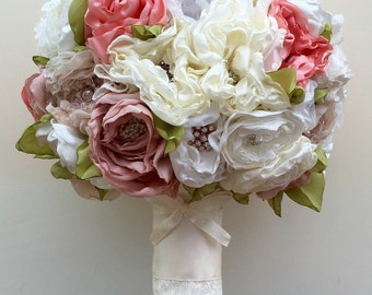 Fabric Bouquet, Wedding Bouquet, Wedding Brooch Bouquet, Weddings, Fabric Bridal Bouquet, Country Garden, pinks, greens, Vintage