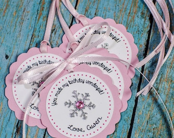 Snowflakes Personalized Favor tags, Winter wonderland favor tags, thank you tags