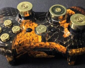 Microsoft Xbox 360 Wireless Custom Controller. Custom Hydro Dipped Shell+Brass abxy Bullet Buttons+Guide+Shotgun Shells Thumbsticks+dpad