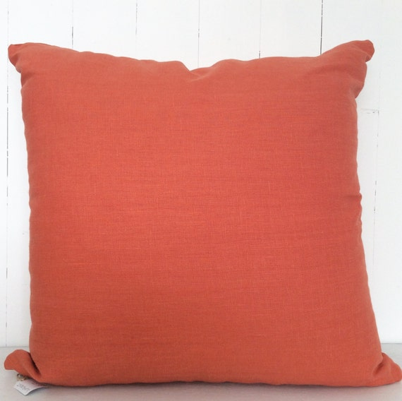 Orange Linen // Cushion Cover // Decorative Pillow // Throw