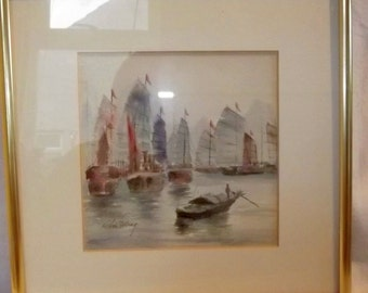 Contemporary Watercolor Chinese Harbour . Signed