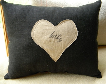 Black linen with heart
