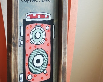 Cute and Colorful Vintage Camera Wooden Sign
