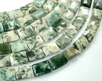 Tree Agate Beads, 11x15mm Rectangle Beads, 15.5 Inch, Full strand, Approx 26 beads, Hole 1mm (428033003)