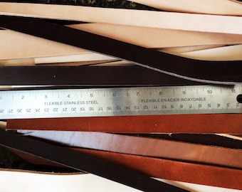 Leather strap scraps in varying colours