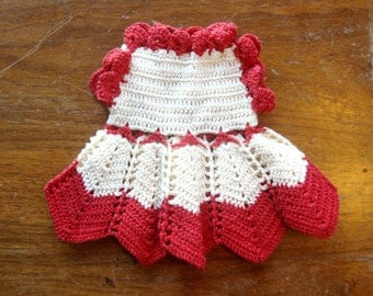 Vintage Doll Dress, homemade crochet red and white, RanchHouseVintage