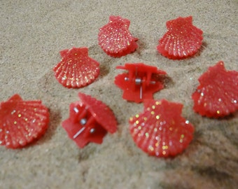 8 pc Red Glitter Shell Seashell Clam Clamshell Hairclip Hair Clip Accessory Claw Mermaid Ariel Accessories Butterfly Clips