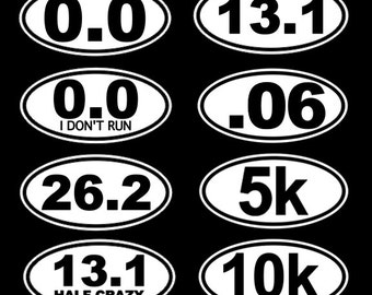 Running Stickers Running Decal 26.2, 13.1, 0.0, 5k, 10k - Car Decal Car Stickers Bumper Sticker Car Window Sticker 262 131