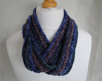 blue infinity scarf, knitted blue cowl, blue multi scarf, lightweight cowl, vegan scarf, multi color scarf, stripe neckwarmer, circle scarf