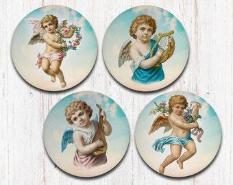 Vintage Cherubs Coasters, Vintage Angels, Cupid, Shabby Chic Angels, Shabby Chic, Drink Coasters, Decorative Coasters