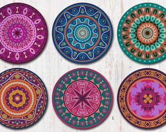 Mandala Coasters, Mandala Art, Mandalas, Hippie, Boho, Bohemian, Gypsy, Moroccan Decor, Coaster Set, Drink Coasters, Decorative Coasters